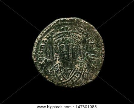 Ancient Copper Byzantine Coin In Green Patina