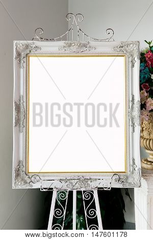 Silver picture frame and stand in wedding