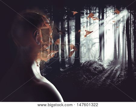 3D Rendering of face of a man who crumbles in the forest