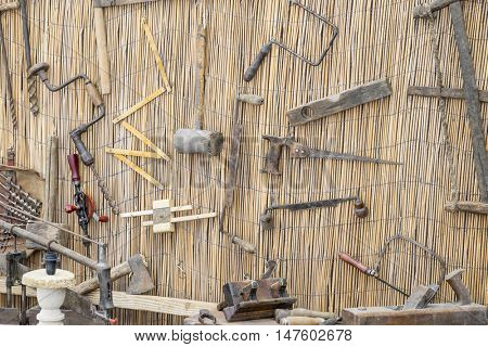 craft workshop traditional tools sculptor, wood, hammers and chisels for working stone