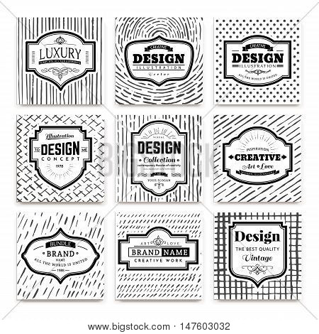 Frame classic template on hand drawn background.Vintage elements design for cafe, restaurant, boutique, hotel, shop, jewelry. Vector retro elements