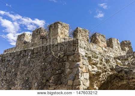 Fortification, medieval castle town of Consuegra in Toledo, Spain