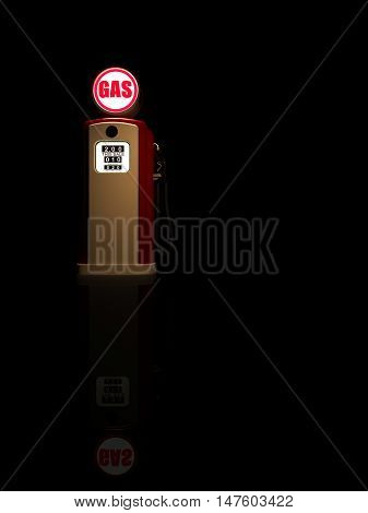 Retro gas pump isolated on black background 3D render
