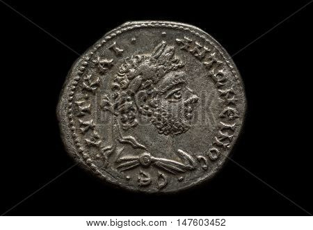 Ancient Silver Roman Coin With Portrait Of Emperor