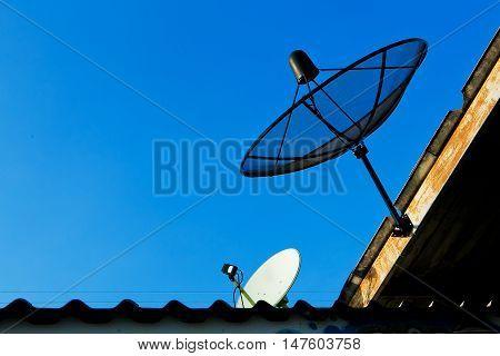 Satellite dish sky sunset communication technology network