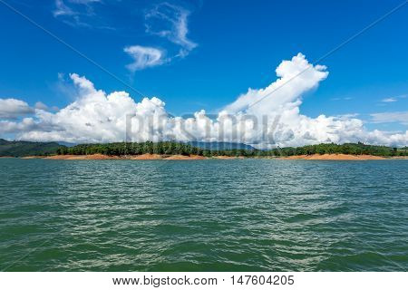 Nam Ngum Lake in Laos landscape with islands and clouds