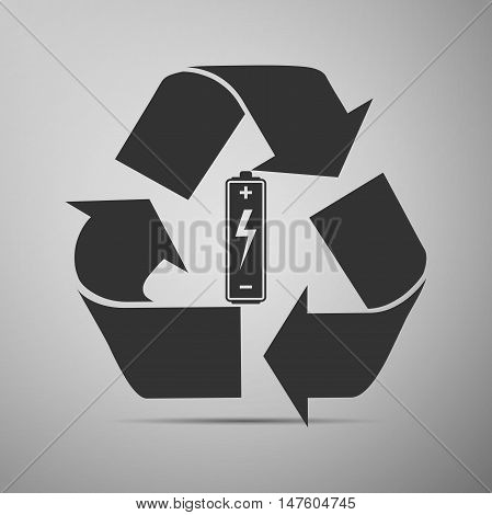 Battery with recycle symbol - renewable energy concept flat icon on grey background. Adobe illustrator