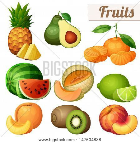Set of food icons isolated on white background. Fruits. Pineapple ananas, avocado, mandarin tangerine, watermelon, melon cantaloupe , lime, peach, nectarine