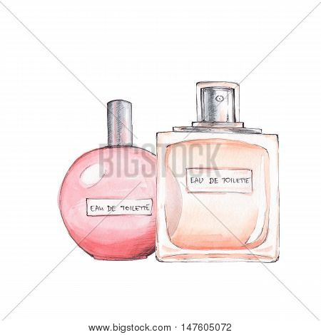 Bottles of perfume. Ink and watercolor sketch 11. Isolated on white background