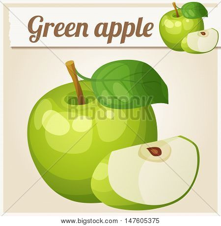 Green apple.  Cartoon vector icon. Series of food and drink
