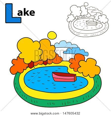Lake. Coloring book page. Cartoon vector illustration.