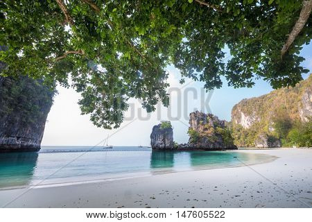 Mountains with branches of tree on island of Koh Hong, Krabi province, Thailand