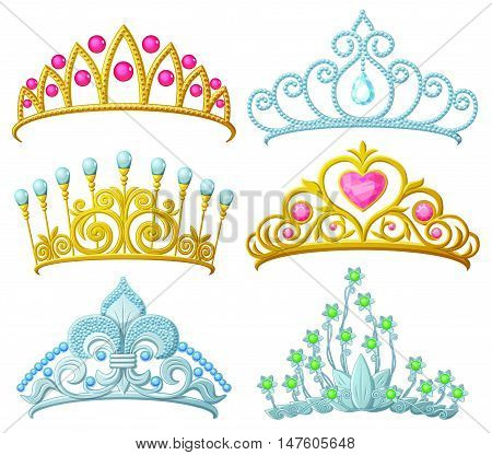 Set of princess crowns Tiara isolated on white. Vector illustration.