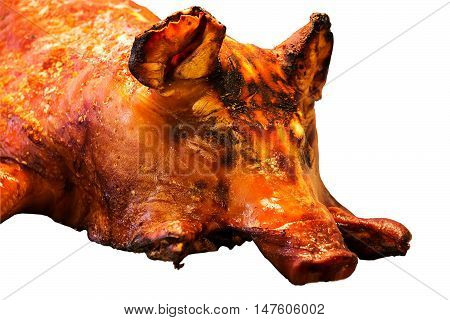 cooked head of pork  in the market  on white background