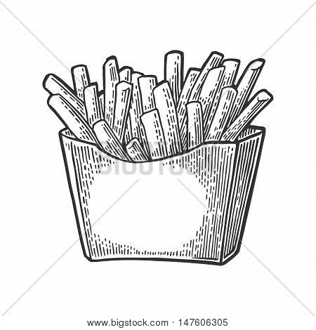 French fries potato in paper box. Isolated on white background. Vector vintage engraving illustration for poster menu web banner info graphic