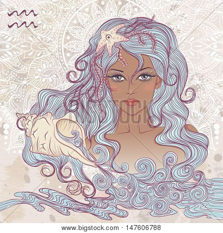 Zodiac. Vector illustration of the astrological sign of Aquarius as a portrait beautiful african american girl with long hair. The illustration on decorative grunge background in retro colors
