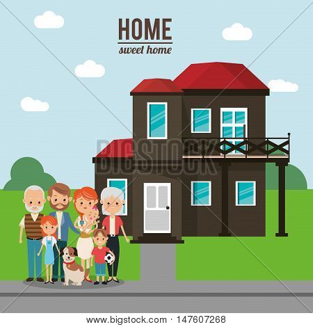 House mother father kids dog and grandparents icon. Home family and real estate theme. Colorful design. Vector illustration