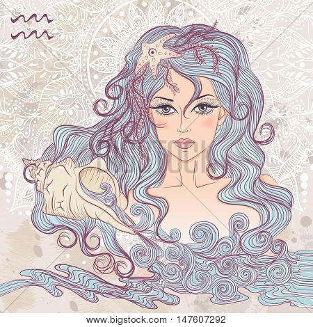 Zodiac. Vector illustration of the astrological sign of Aquarius as a portrait beautiful girl with long hair. The illustration on decorative grunge background in retro colors