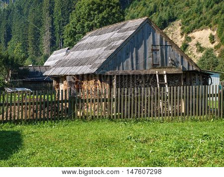 Shed on the plot in the Carpathian village