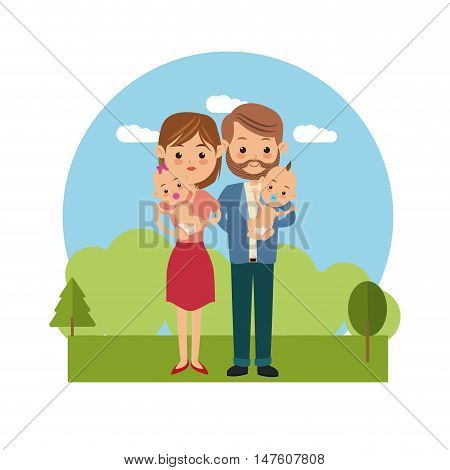 Couple of mother father woman man and baby icon. Family relationship avatar and generation theme. Colorful design. Vector illustration