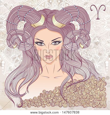 Zodiac. Vector illustration of the astrological sign of Aries as a portrait beautiful girl with long hair. The illustration on decorative grunge background in retro colors