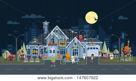 Stock vector illustration of house facade decorated for Halloween