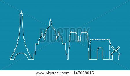Paris city skyline silhouette on blue background vector illustration.