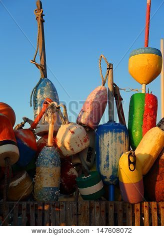 Lobster buoys on a pier in Cape Cod MA