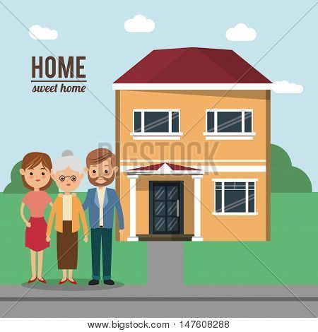 House mother father woman man and grandmother icon. Home family and real estate theme. Colorful design. Vector illustration