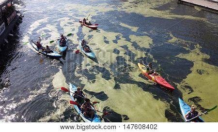 Gdansk, Poland - September 17, 2016: Kayakers on the river Motlawa. On the river green patches of duckweed.
