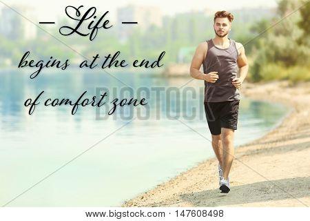 Comfort zone concept. Handsome man jogging on river bank