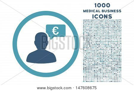 European Person Opinion rounded vector bicolor icon with 1000 medical business icons. Set style is flat pictograms, cyan and blue colors, white background.