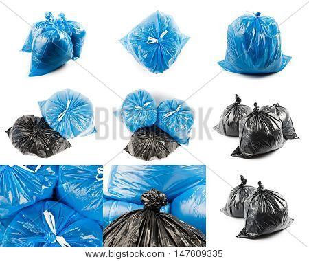 Collage of black and blue garbage bags isolated on white background