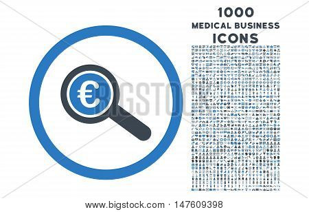 Euro Financial Audit rounded vector bicolor icon with 1000 medical business icons. Set style is flat pictograms, smooth blue colors, white background.