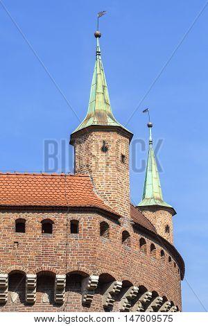 Gothic-style Krakow Barbican ( Barbakan) Old Town Krakow Poland