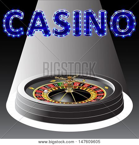 Casino roulette wheel. Vector illustration. Clip art