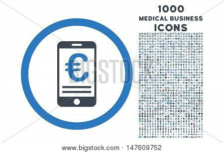 Euro Mobile Bank Account rounded vector bicolor icon with 1000 medical business icons. Set style is flat pictograms, smooth blue colors, white background.