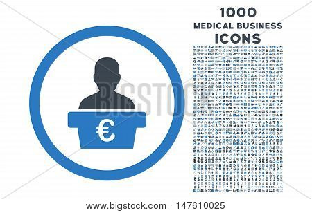 Euro Politician rounded vector bicolor icon with 1000 medical business icons. Set style is flat pictograms, smooth blue colors, white background.