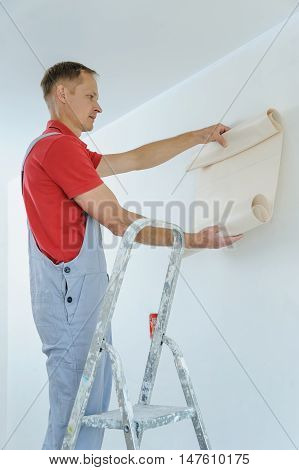 Worker pasting wallpapers. He puts the roll to the wall.