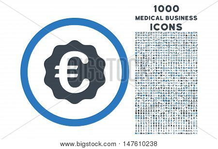 Euro Reward Seal rounded vector bicolor icon with 1000 medical business icons. Set style is flat pictograms, smooth blue colors, white background.