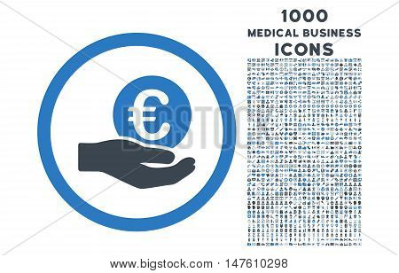 Euro Salary Hand rounded vector bicolor icon with 1000 medical business icons. Set style is flat pictograms, smooth blue colors, white background.