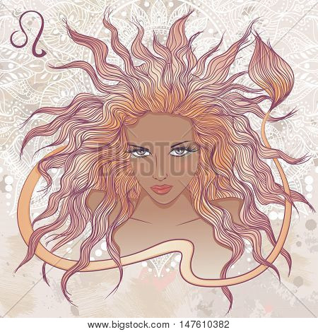 Zodiac. Vector illustration of the astrological sign of Leo as a portrait beautiful african american girl with long hair. The illustration on decorative grunge background in retro colors