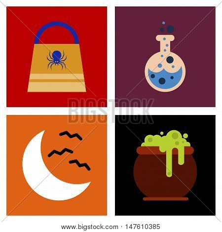 assembly of flat icons halloween bag potion bottle moon bats cauldron