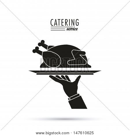 Plate chicken food and hand icon. Catering service restaurant and menu theme. Vector illustration