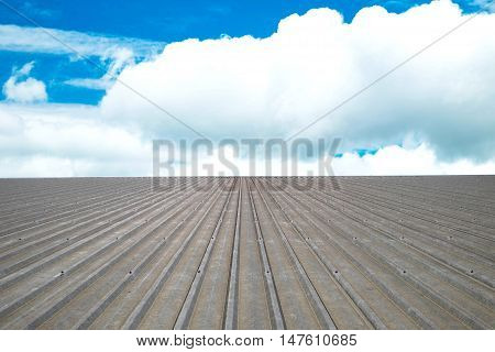 Roof corrugated aluminum and blue sky background