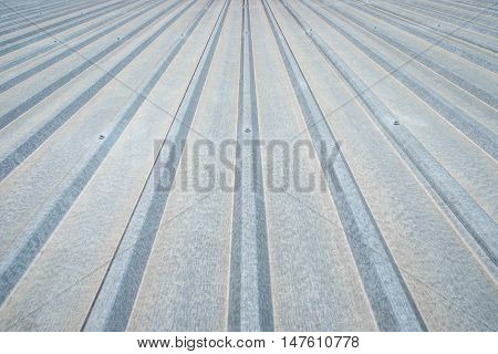 corrugated aluminum roof background in factory roof