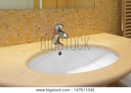 Marble Oval Sink in Modern Bathroom Interior