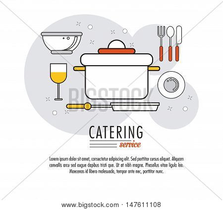 Cooking pot cutlery bowl and cup icon. Catering service restaurant and menu theme. Vector illustration
