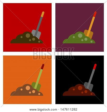 assembly of flat icons halloween Plot shovel