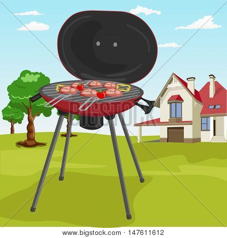 Grilling theme with barbecue stuff in a garden with classic cottage